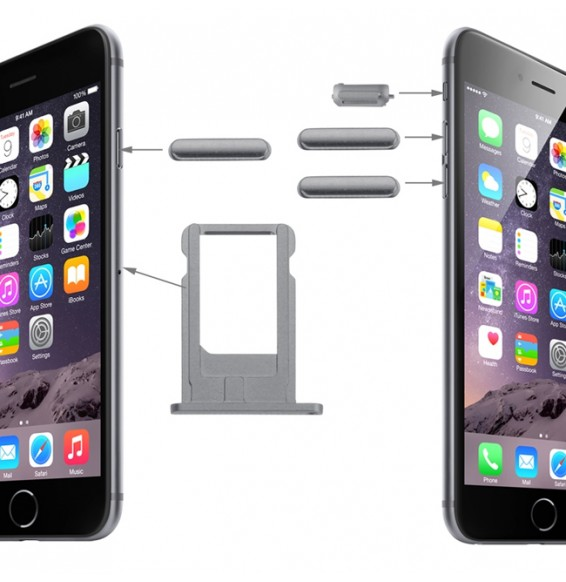 Original Card Tray & Volume Control Key & Screen Lock Key & Mute Switch Vibrator Key Kit for iPhone 6 (Grey)