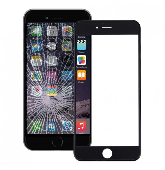 Outer Glass Lens with Frame & Adhesive for iPhone 6 (Black)