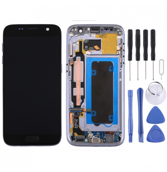 LCD Screen and Digitizer Full Assembly with Frame for Galaxy S7 / G930V(Black)