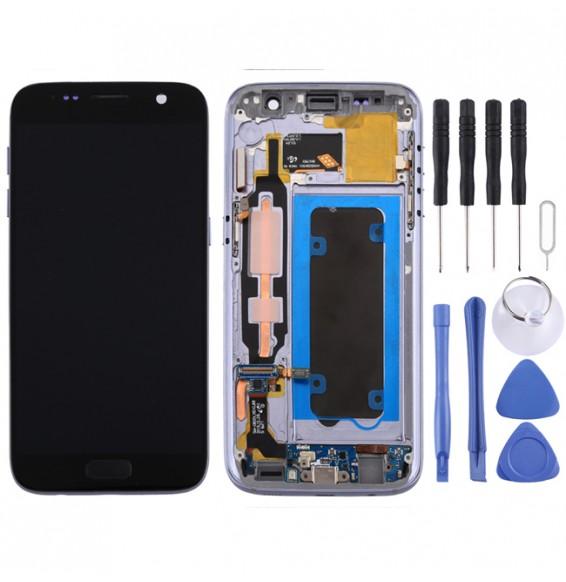 LCD Bildschirm mit Gehäuse für Galaxy S7 / G930V (schwarz)