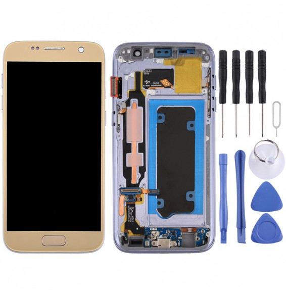 Original LCD Screen with Frame for Samsung Galaxy S7 SM-G930 (Gold)