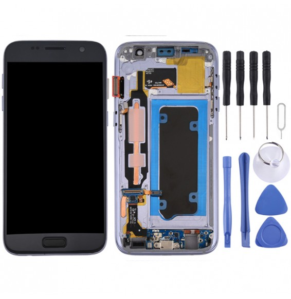 LCD Screen Full Assembly with Frame for Galaxy S7 / G930V (Grey)