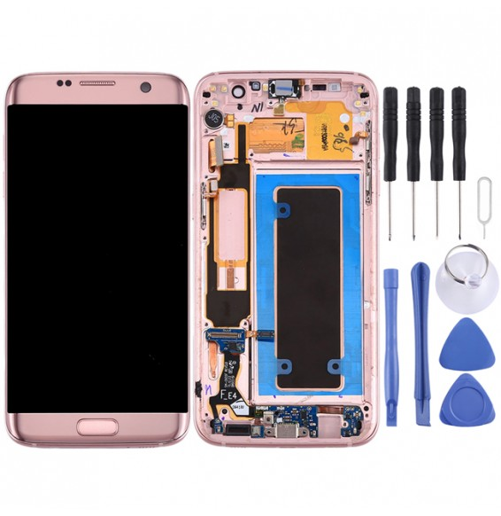 Original LCD Screen and Digitizer Full Assembly with Frame & Charging Port Board & Volume Button & Power Button for Galaxy S7 Edge / G9350(Pink)