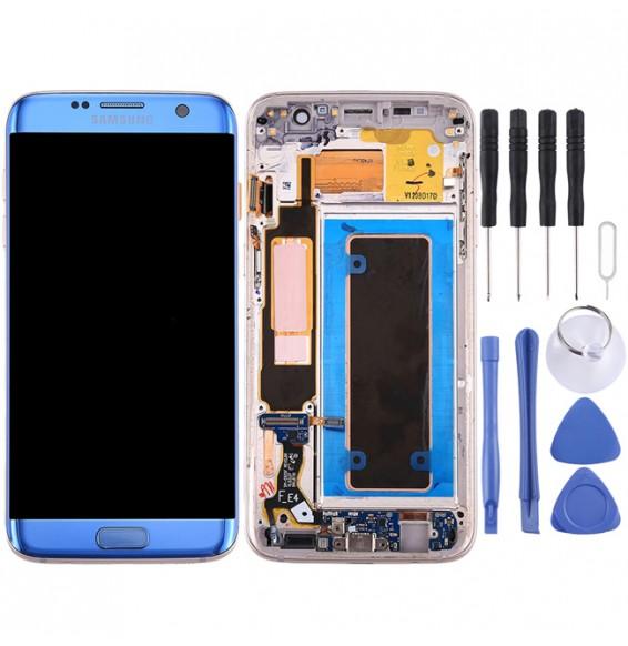 Écran LCD pré-assemblé avec châssis original pour Samsung Galaxy S7 Edge / G9350 (Bleu)