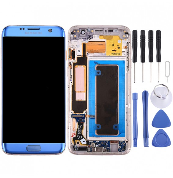 Original LCD Screen and Digitizer Full Assembly with Frame & Charging Port Board & Volume Button & Power Button for Galaxy S7 Edge / G9350(Blue)