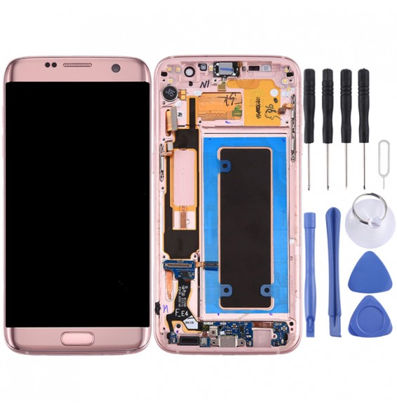 Original LCD Screen and Digitizer Full Assembly with Frame & Charging Port Board & Volume Button & Power Button for Galaxy S7 Edge / G935F(Pink)