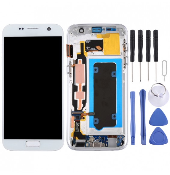 LCD Screen Full Assembly with Frame for Galaxy S7 / G930V (White)