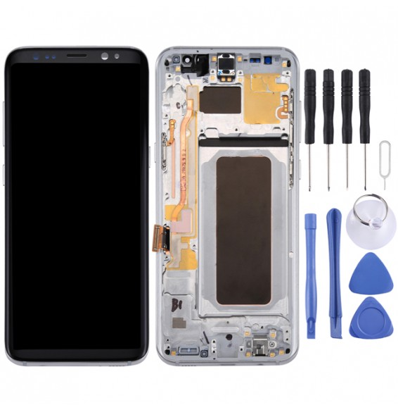 Original LCD Screen + Original Touch Panel with Frame for Galaxy S8+ / G955 / G955F / G955FD / G955U / G955A / G955P / G955T / G955V / G955R4 / G955W / G9550(Silver)