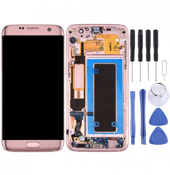Original LCD Screen and Digitizer Full Assembly with Frame & Charging Port Board & Volume Button & Power Button for Galaxy S7 Edge / G935A(Pink)