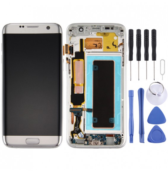 Original LCD Screen and Digitizer Full Assembly with Frame & Charging Port Board & Volume Button & Power Button for Galaxy S7 Edge / G935F(Silver)