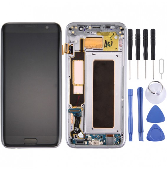 Original LCD Screen and Digitizer Full Assembly with Frame & Charging Port Board & Volume Button & Power Button for Galaxy S7 Edge / G935F(Black)