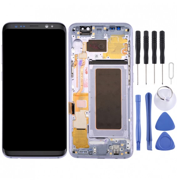 Original LCD Screen + Original Touch Panel with Frame for Galaxy S8 / G950 / G950F / G950FD / G950U / G950A / G950P / G950T / G950V / G950R4 / G950W / G9500(Grey)