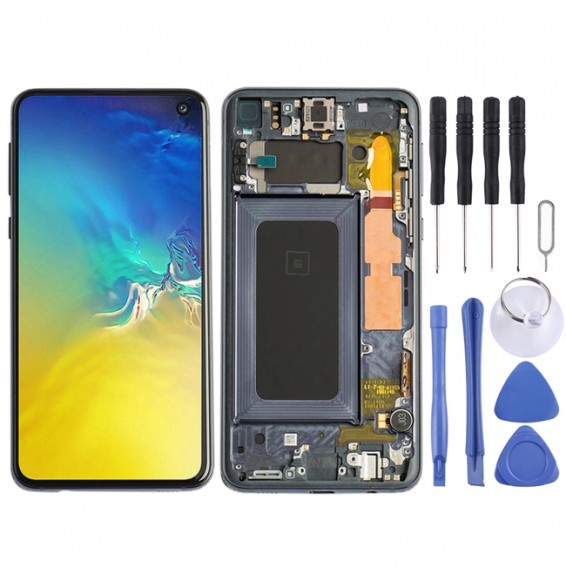 LCD Screen Full Assembly with Frame for Galaxy S10e (Black)