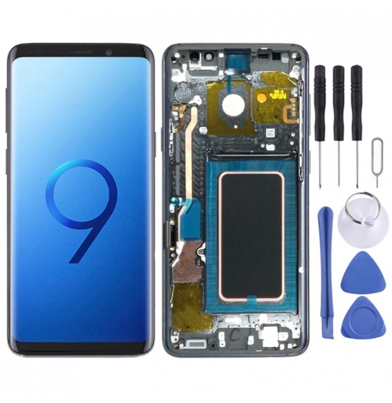 Super AMOLED Material LCD Screen and Digitizer Full Assembly with Frame for Galaxy S9+ / G965F / G965F/DS / G965U / G965W / G9650(Grey)