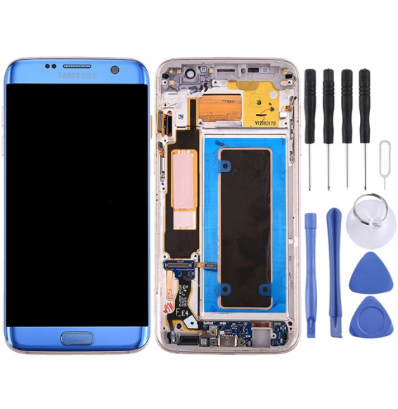 Original LCD Screen Full Assembly with Frame for Galaxy S7 Edge / G935A (Blue)