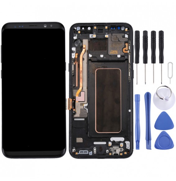 Original LCD Screen with Frame for Galaxy S8+ / G955 / G955F / G955FD / G955U / G955A / G955P / G955T / G955V / G955R4 / G955W / G9550 (Black)