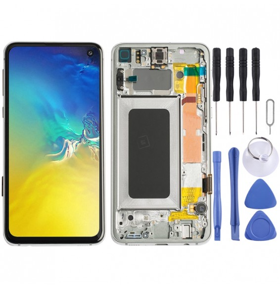 LCD Screen and Digitizer Full Assembly with Frame for Galaxy S10e (Silver)