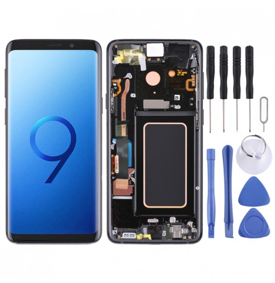 Super AMOLED Material LCD Screen and Digitizer Full Assembly with Frame for Galaxy S9+ / G965F / G965F/DS / G965U / G965W / G9650(Black)