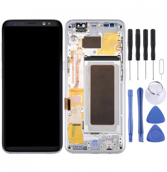 Original LCD Screen + Original Touch Panel with Frame for Galaxy S8 / G950 / G950F / G950FD / G950U / G950A / G950P / G950T / G950V / G950R4 / G950W / G9500(Silver)