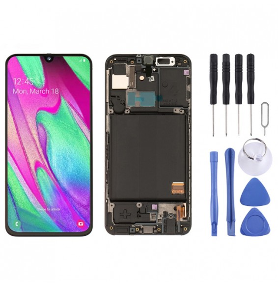 Original LCD Screen Full Assembly with Frame for Galaxy A40 SM-A405F (Black)