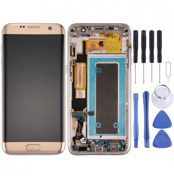 Original LCD Screen and Digitizer Full Assembly with Frame & Charging Port Board & Volume Button & Power Button for Galaxy S7 Edge / G935F(Gold)