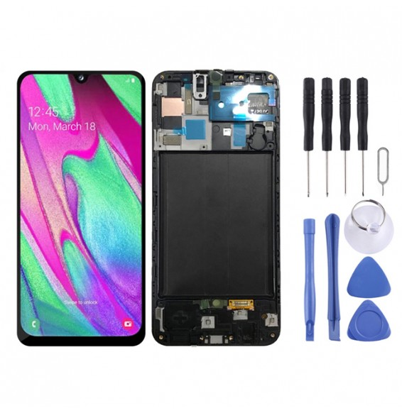 LCD Screen Full Assembly with Frame for Galaxy A50 SM-A505F (Black)