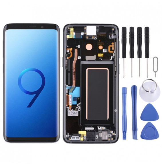 LCD Bildschirm mit Rahmen für Galaxy S9 / G960F / G960F/DS / G960U / G960W / G9600 (Schwarz)