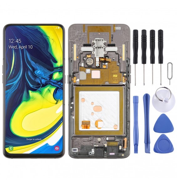 Original Super AMOLED LCD Screen Full Assembly with Frame for Galaxy A80