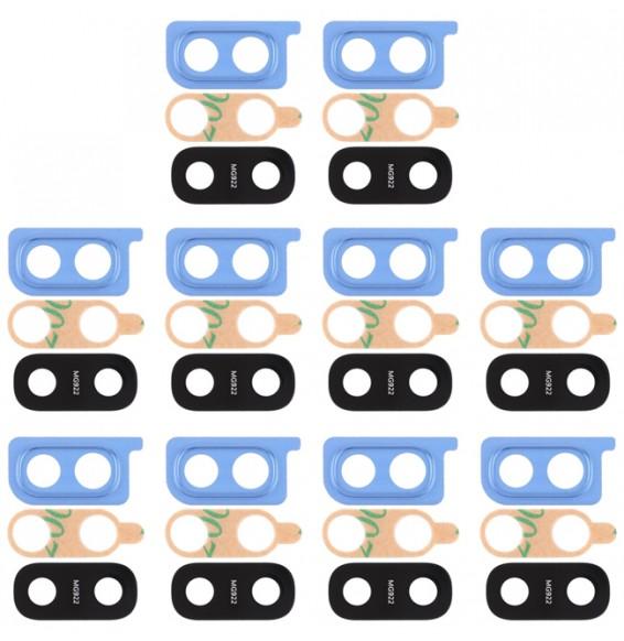 10pcs Cache vitre caméra arrière pour Samsung Galaxy A20 SM-A205F (Bleu)