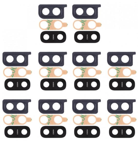 10pcs vitre caméra pour Galaxy A20 (noir)