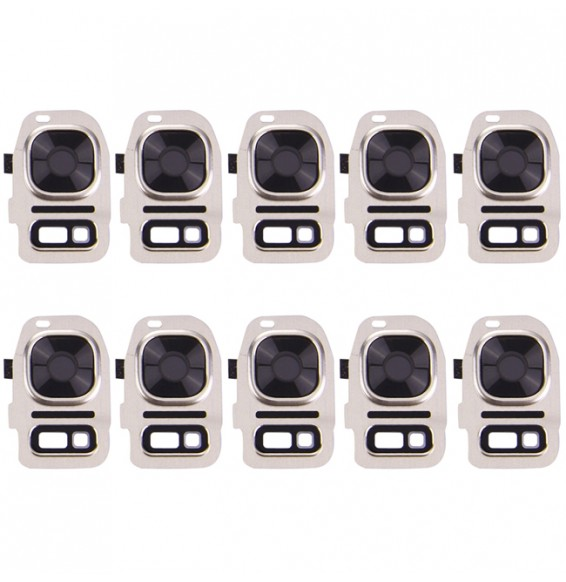 10pcs Vitre caméra + support flash pour Galaxy S7 / G930 (Or)