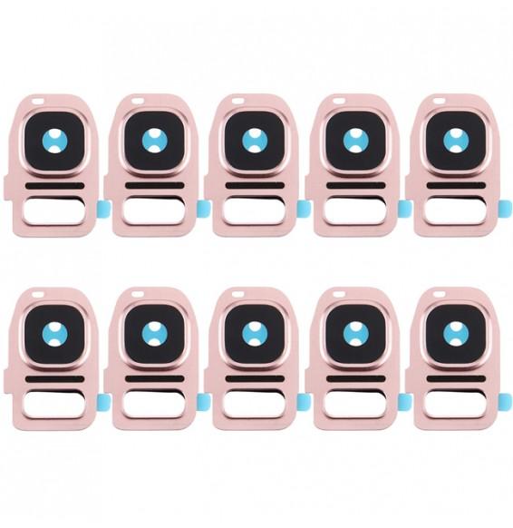 Couvercle d'objectif de caméra arrière 10pcs + support de lampe de poche pour Galaxy S7 / G930 (or rose)