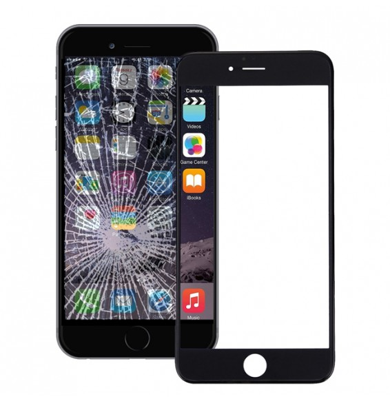 Outer Glass Lens with Frame & Adhesive for iPhone 6 Plus (Black)